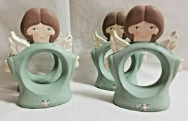 "4 Christmas Holiday Country Angels Napkin Rings Teal Ceramic 3.5"" Tall - $24.99"