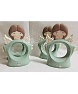 """4 Christmas Holiday Country Angels Napkin Rings Teal Ceramic 3.5"""" Tall - $24.99"""