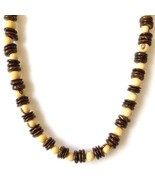 REAL COCONUT SHELL BROWN CREAM SURF STYLE NECKLACE COCO DISCS ACAI SEEDS... - $10.71