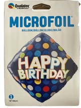 Happy Birthday Blue & Colour Dots Qualatex 18 Inch Foil Balloon Party Supply Uk - $3.52