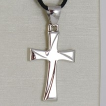 Cross White Gold 750 18K Pendant, Squared, Carved, Stylized, Made Italy image 2