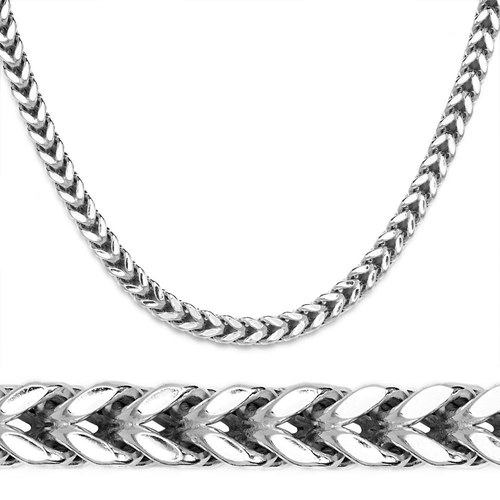 14K White Gold Plated 925 Sterling Silver Box Franco Italy Chain Necklace 3-7mm