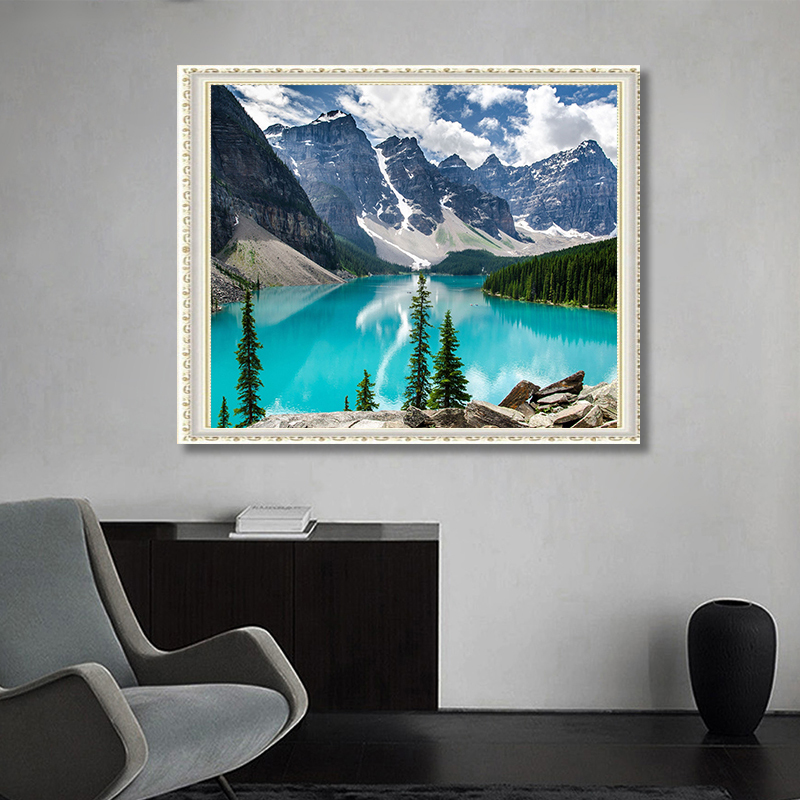 DIY Diamond Painting,5D Diamond Embroidery Mountain Lake Painting Mosaic Crafts