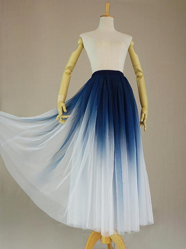 Dye blue tulle skirt 4
