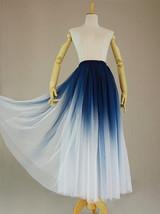 Women Blue White Dye Tulle Skirt A-line Tie Dye Long Tulle Skirt Evening Skirts  image 1