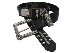 Women Black Faux Leather Retro Belt Beads Silver Gold Metal Stud Square ... - $19.55
