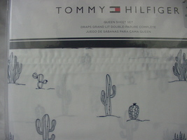 Tommy Hilfiger Navy Cactus Plants on White Sheet Set Queen - $55.00
