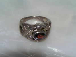 Estate Sterling Silver Signed Open Criss Cross with Oval Faceted Garnet ... - $24.20