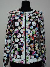Round Neck Flower Pattern White Leather Leaf Jacket Womens All Sizes Short D7 - $150.00