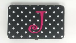 "Women's Monogrammed Initial ""J"" Hard Clutch Wallet Black Dots VGC - $12.95"