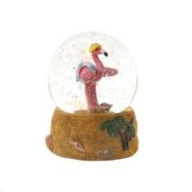 Mini Snow Globe w/ Sun Hat Pink Flamingo at Beach Seashells, Palm Trees ... - $19.45