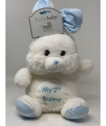 Kellybaby Plush My 1st First Bunny White Blue Soft Stuffed Animal Rattle... - $14.99