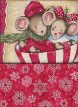 Christmas Quilt Fabric,Rare Daisy K Merry Mice Large Sqr, Candy, Snowfla... - $14.10