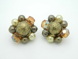 Japan Faux Pearl Gold Art Glass Bead Beaded Clip-On Earrings Vintage Gold Tone - $13.86