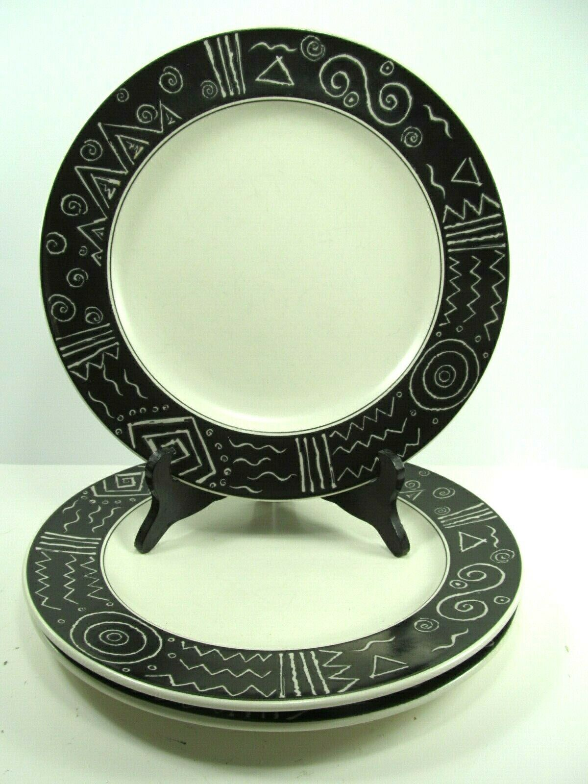 "Primary image for Mikasa Star Tracks CP006 11"" Dinner Plates-Set Of 4- White With Black Rim"
