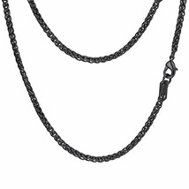 PROSTEEL Black Wheat Braided Chain Link Necklace Stainless Steel 3mm Spi... - $11.34