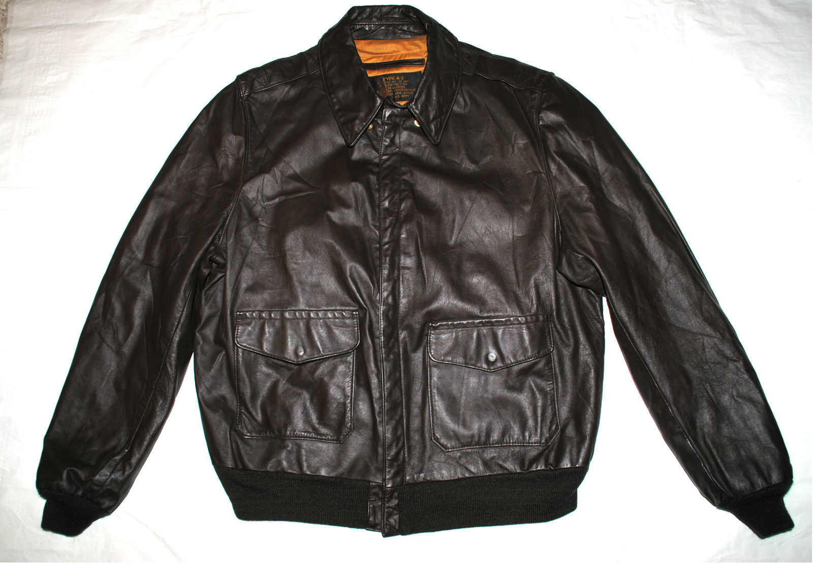 Primary image for US ARMY AIR FORCE FLYERS MEN'S LEATHER BOMBER TYPE A-2 JACKET - SIZE 46 LONG