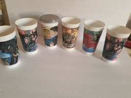 1992 Batman Returns Mc Donalds Plastic Cup Set Of 6 - One Double One With Lid!!! - $28.04