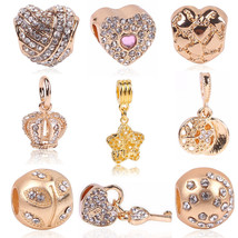 Charms Rose Gold Crystal Fits Pandora Bracelet Necklace Heart Big Hole Beads - $7.99+