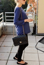 100% Authentic Chanel 2015 Black Quilted Lambskin Jumbo Classic DOUBLE Flap Bag  image 9