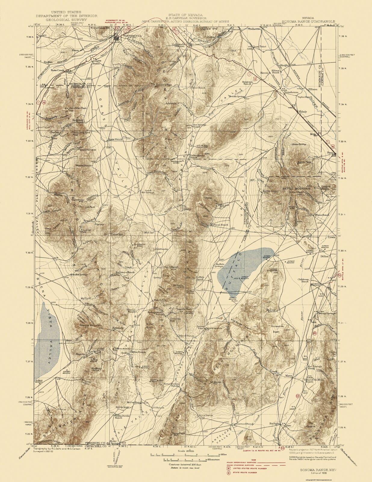 Topo Map - Sonoma Range Nevada Quad - USGS 1939 - 23 x 29.77 - $36.58 - $94.00