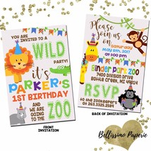 Zoo Birthday Invitation Zoo Animals Safari Monkey Double Sided Invitatio... - £11.33 GBP