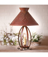 BETSY ROSS COLONIAL TABLE LAMP with Pierced Chisel Pattern Shade in Rust... - $162.31