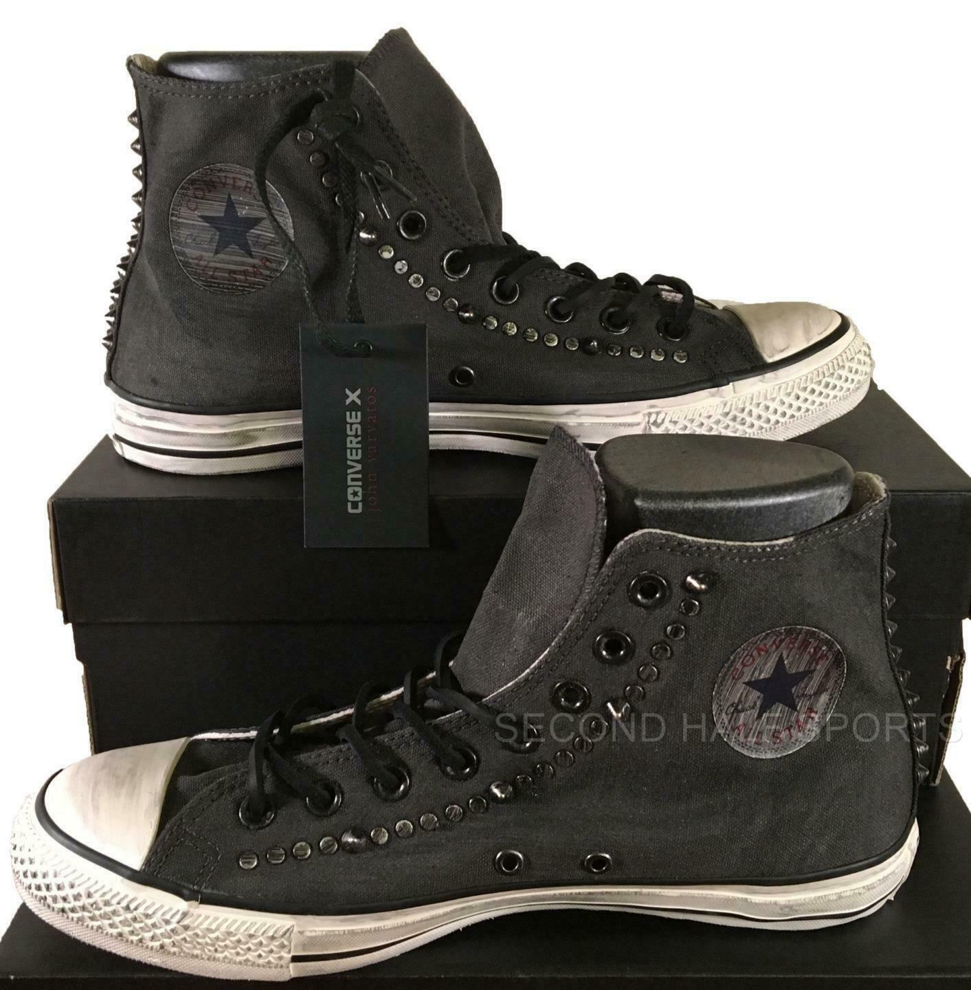 8fe41a28dd37 Converse John Varvatos Painted Hardware Studded Canvas Sneakers GREY  145387C -  125.00