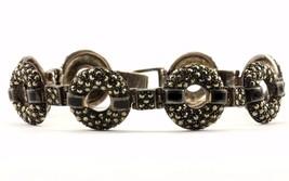 Vintage Round Shape Marcasite Link Bracelet 925 Sterling BR 2047-E - $41.49