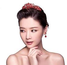 Orient Style Red Crown Crystal Hair Accessory for Bride