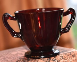 """VINTAGE RUBY RED GLASS SUGAR BOWL 3"""" H ANCHOR HOCKING 1940's-50's DOUBLE... - $16.99"""