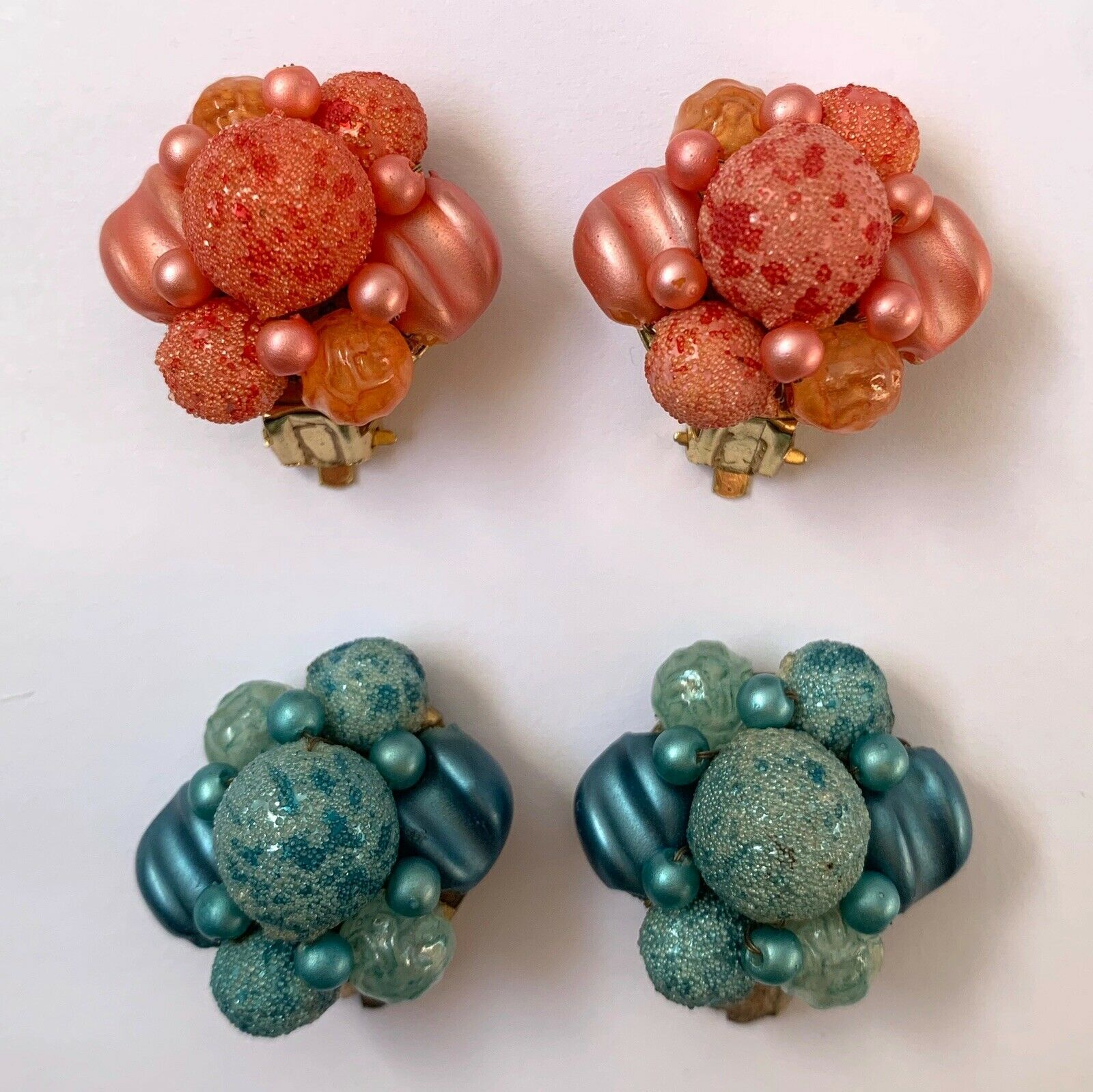 Primary image for Vintage Sugar Bead Clip On Cluster Earrings Pink Blue Beaded Hong Kong Lot