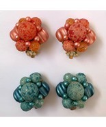 Vintage Sugar Bead Clip On Cluster Earrings Pink Blue Beaded Hong Kong Lot - €23,25 EUR