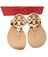 Tory Burch Miller Thongs Beige Leather Sandals Shoes Flip Flops 7.5 Slid... - $129.00