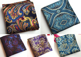 Blue Red Yellow Purple Black Patterned Pocket Square Handkerchief - $6.71