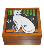 Secret Opening Spin Box Engraved Wooden Trinket Box with White Cat  - $13.99