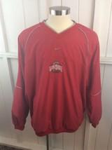 2003 Nike OHIO STATE BUCKEYES Red V-neck Pullover Windbreaker Jacket Siz... - $32.66