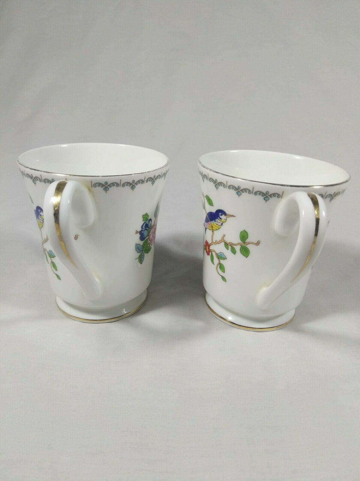 Aynsley Pembroke Tea Cups Fine English Bone China Birds Floral Set of 2 Mugs image 4