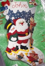 Bucilla Ice Skating Santa Snowman Rudolph Felt Christmas Stocking Kit 84... - $39.95