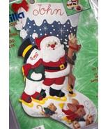 Bucilla Ice Skating Santa Snowman Rudolph Felt Christmas Stocking Kit 84... - $39.95