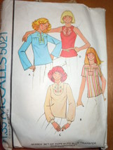 Vintage McCall's Misses Tops With Embroidery Transfer Size large  #5021 ... - $6.99