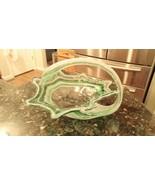 """Large 9"""" Green Swirl Murano Italian Hand Blown Art Glass Swan Centerpiec... - $46.87"""