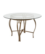 Offex Contemporary 48'' Round Glass Dining Table with Matte Gold Metal F... - $234.96
