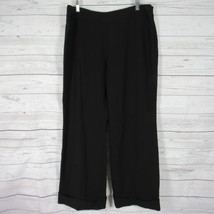 Giorgio Armani Pants Womens 44 Black 100% Wool Cuffed Trousers Slacks - $44.24