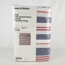 Ikea Smalstakra King Duvet Cover w/2 Pillowcases Bed Set Blue Red Stripe... - $77.45