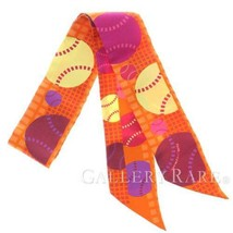 HERMES Twilly Balles de Tennis Silk Orange Red Yellow Scarf Authentic 52... - $193.50