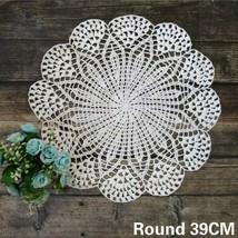 2pcs Round Cotton Table Place Mat Crochet Placemat Coaster Kitchen Weddi... - $12.99