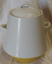 "vtg mid century cookie jar white yellow 9 1/2"" handles - $36.37"