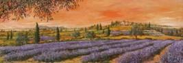 Filari di Lavanda by Tebo Marzari 12x36 Canvas Flowers Tuscan Landscape - $187.11