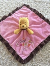 Winnie The Poor Girls Brown Pink Fleece Satin Polka Dots Lovey Security Blanket - $7.38